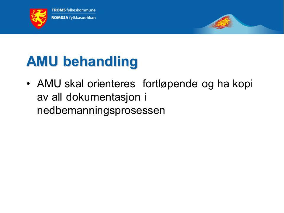 AMU behandling AMU skal orienteres fortløpende og ha kopi av all dokumentasjon i nedbemanningsprosessen.