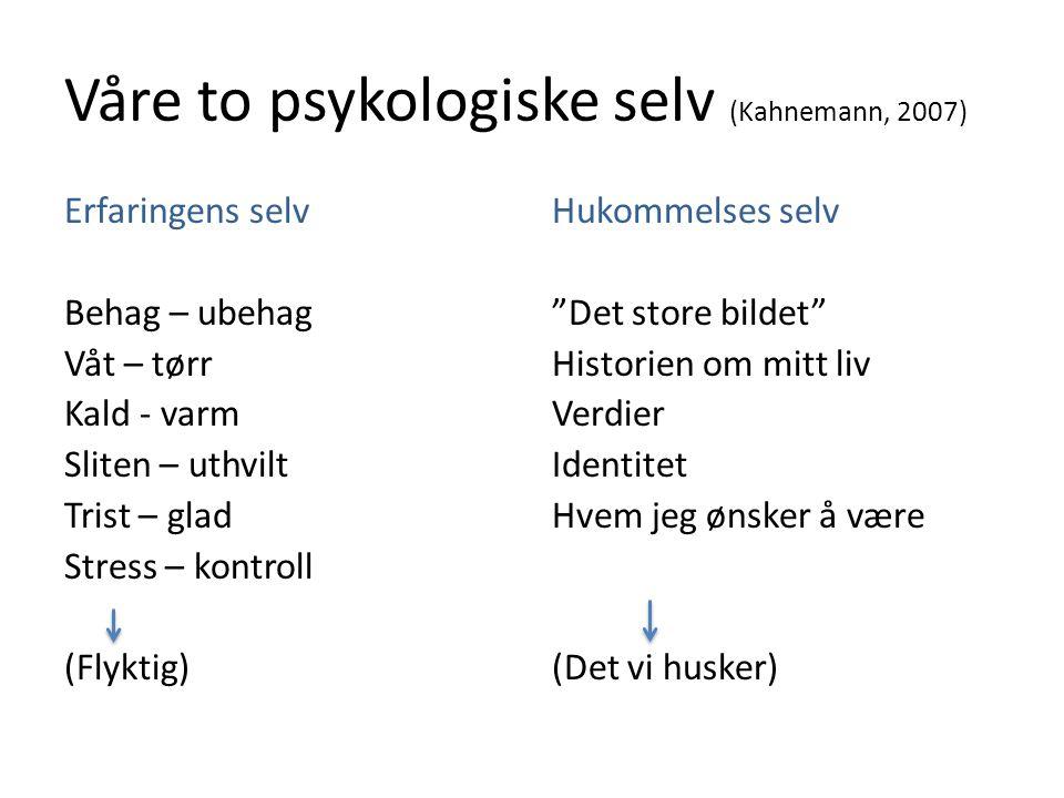 Våre to psykologiske selv (Kahnemann, 2007)