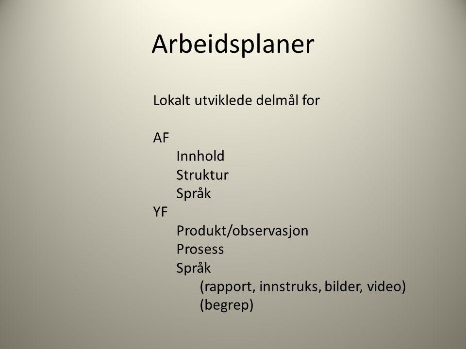 Arbeidsplaner Lokalt utviklede delmål for AF Innhold Struktur Språk YF