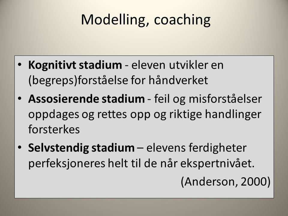 Modelling, coaching Kognitivt stadium - eleven utvikler en (begreps)forståelse for håndverket.