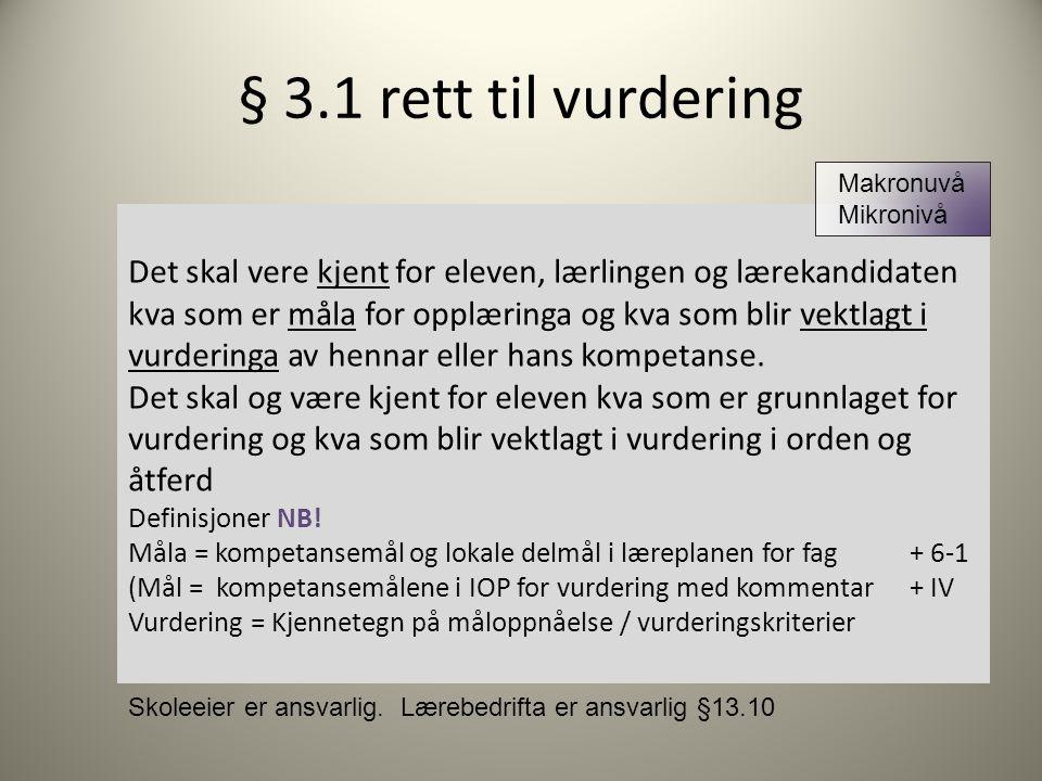 § 3.1 rett til vurdering Makronuvå. Mikronivå.