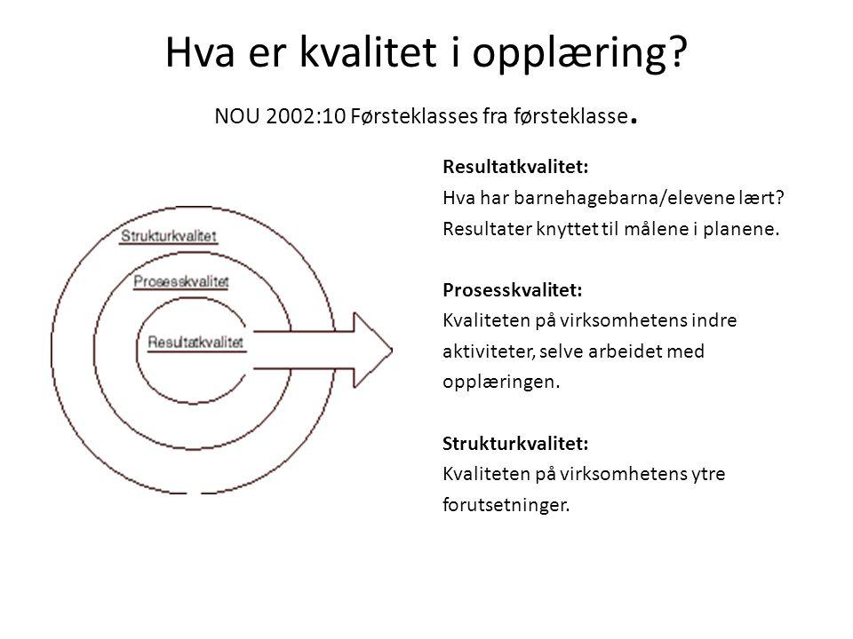 Hva er kvalitet i opplæring NOU 2002:10 Førsteklasses fra førsteklasse.