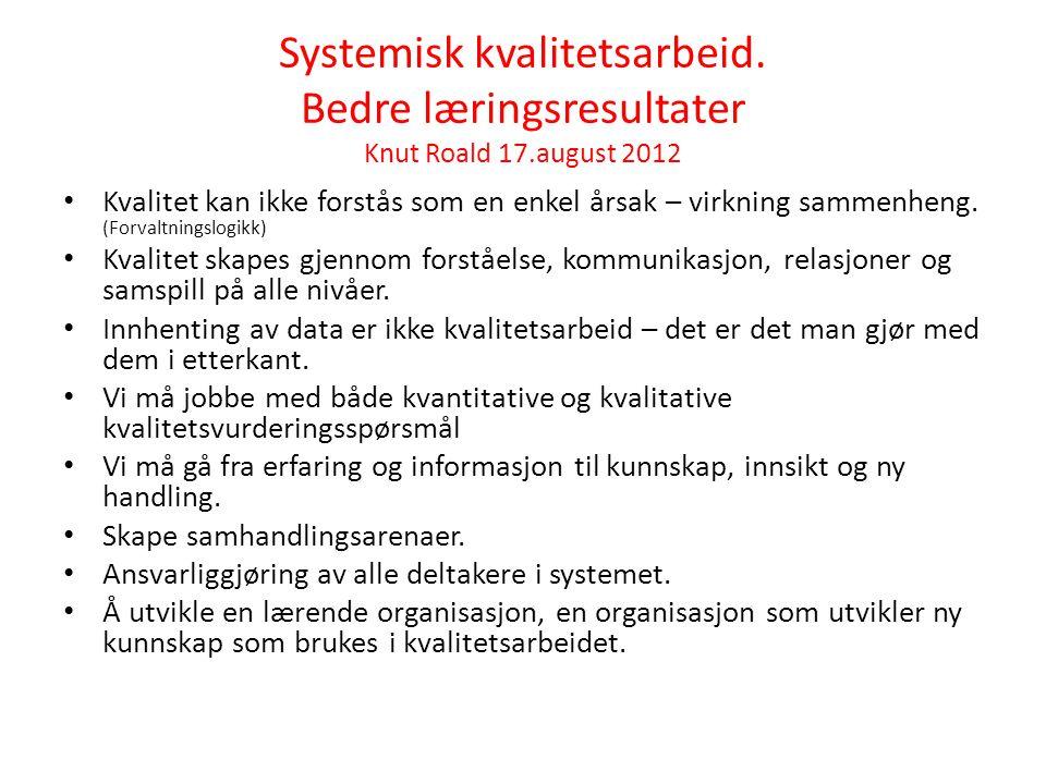 Systemisk kvalitetsarbeid. Bedre læringsresultater Knut Roald 17