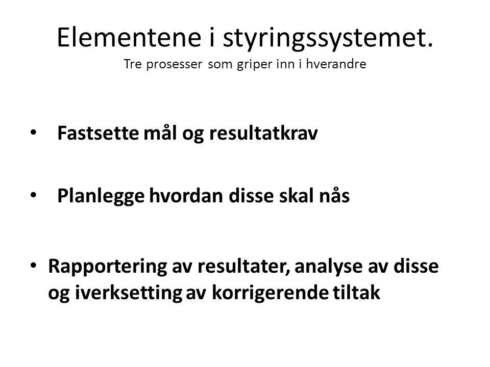 Elementene i styringssystemet. Tre prosesser som griper inn i hverandre