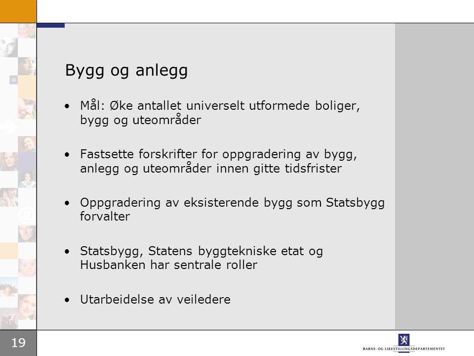 Bygg og anlegg Mål: Øke antallet universelt utformede boliger, bygg og uteområder.