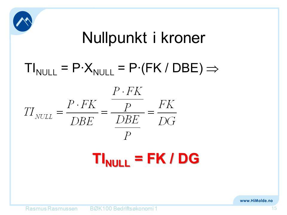 Nullpunkt i kroner TINULL = FK / DG TINULL = P∙XNULL = P∙(FK / DBE) 