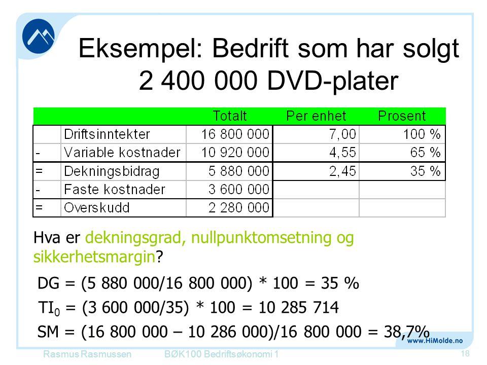 Eksempel: Bedrift som har solgt 2 400 000 DVD-plater