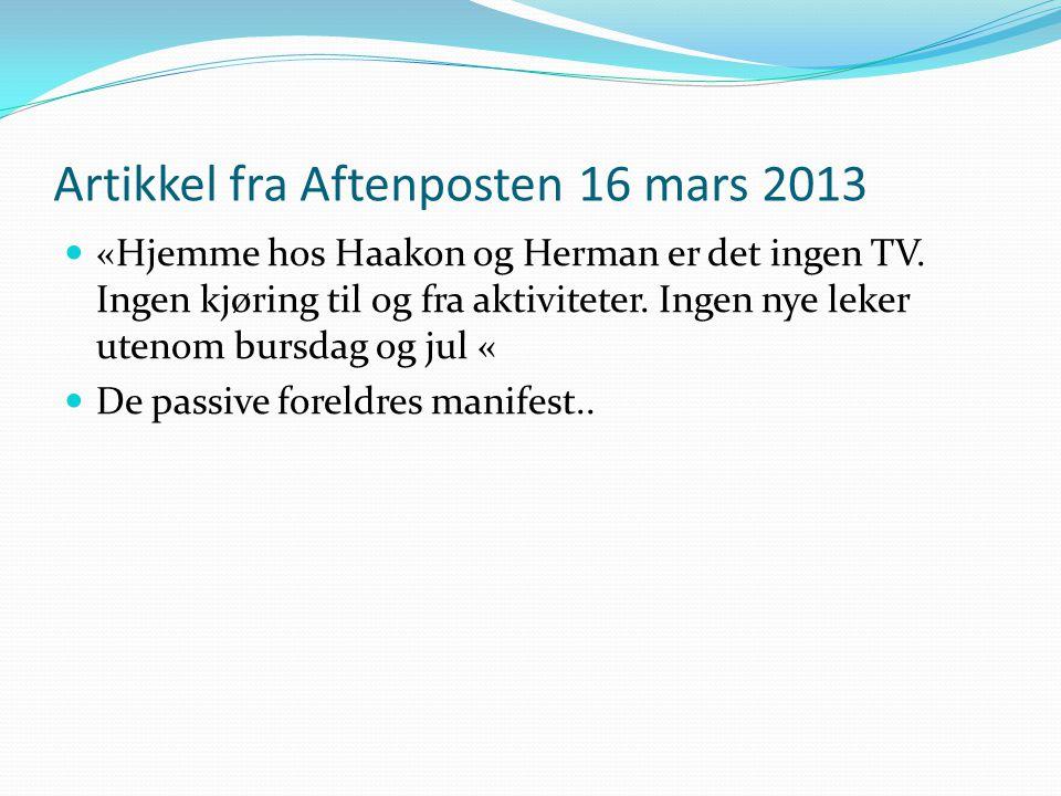 Artikkel fra Aftenposten 16 mars 2013