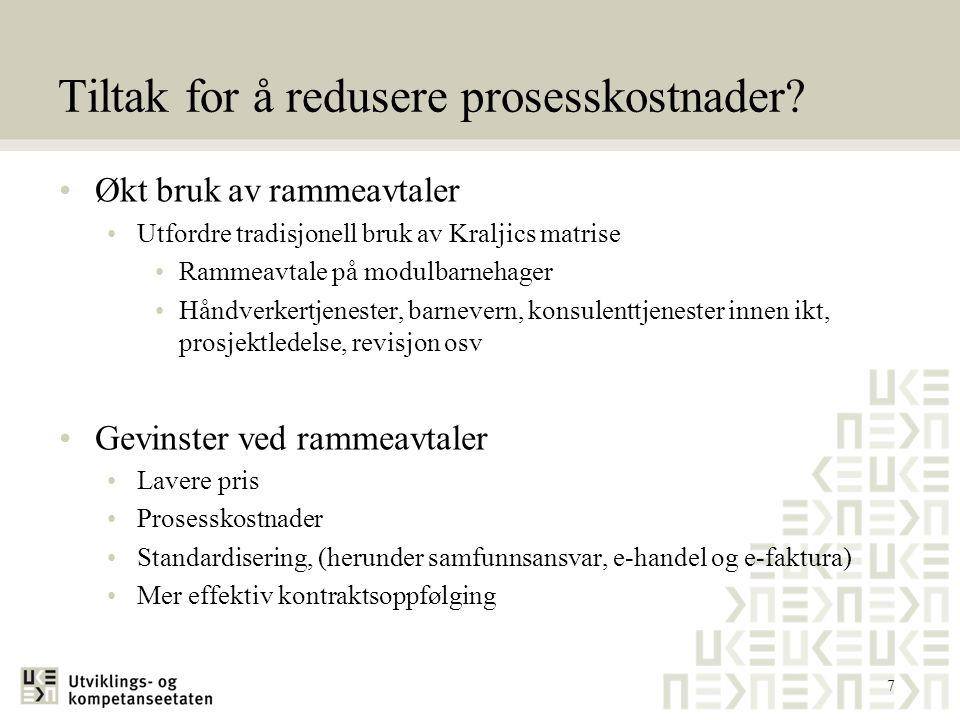 Tiltak for å redusere prosesskostnader
