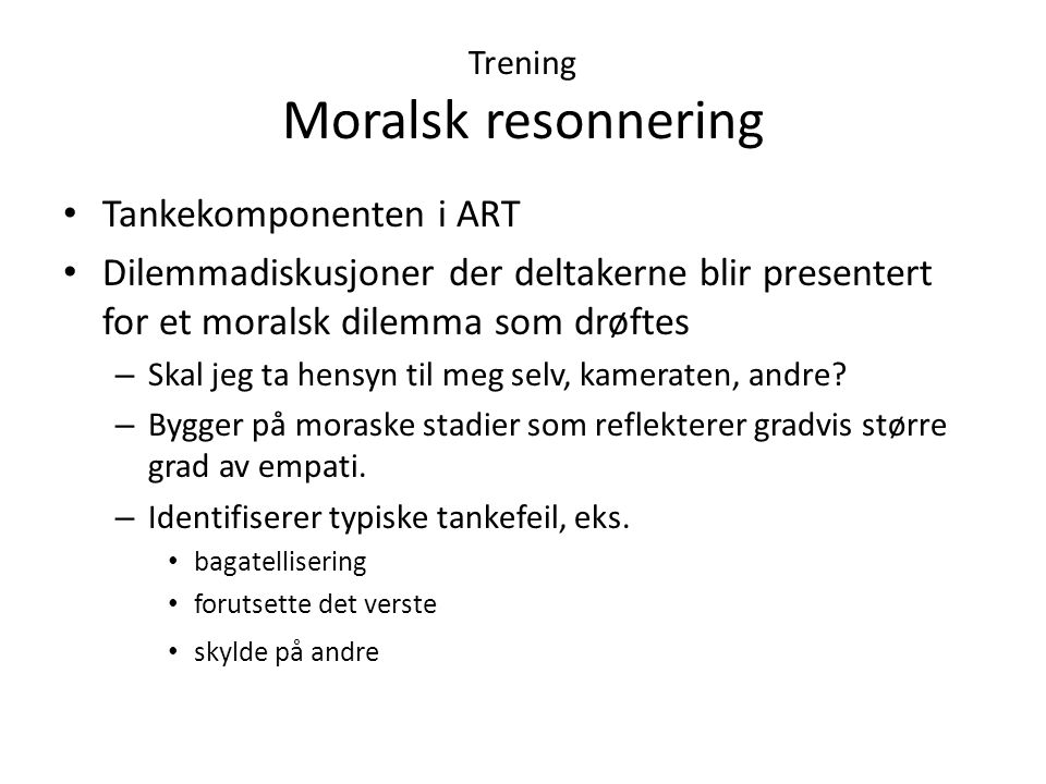 Trening Moralsk resonnering