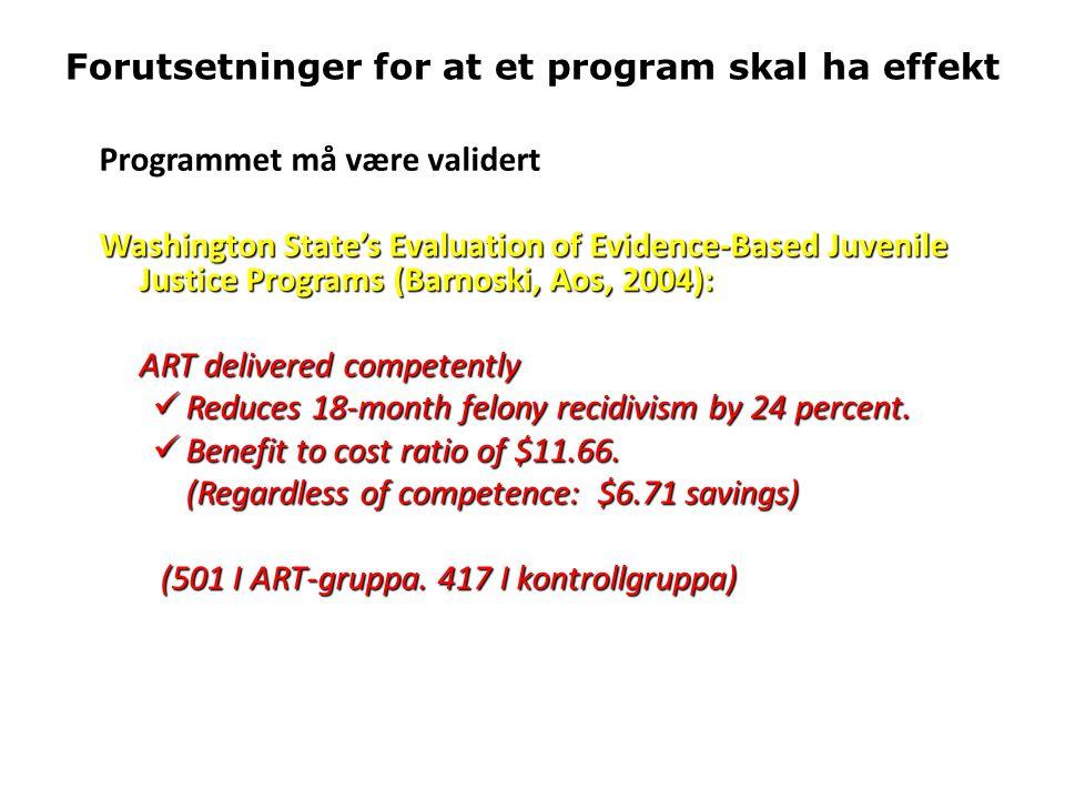 Forutsetninger for at et program skal ha effekt