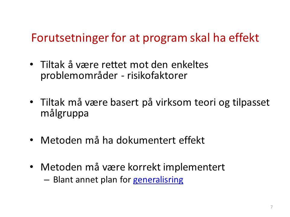 Forutsetninger for at program skal ha effekt