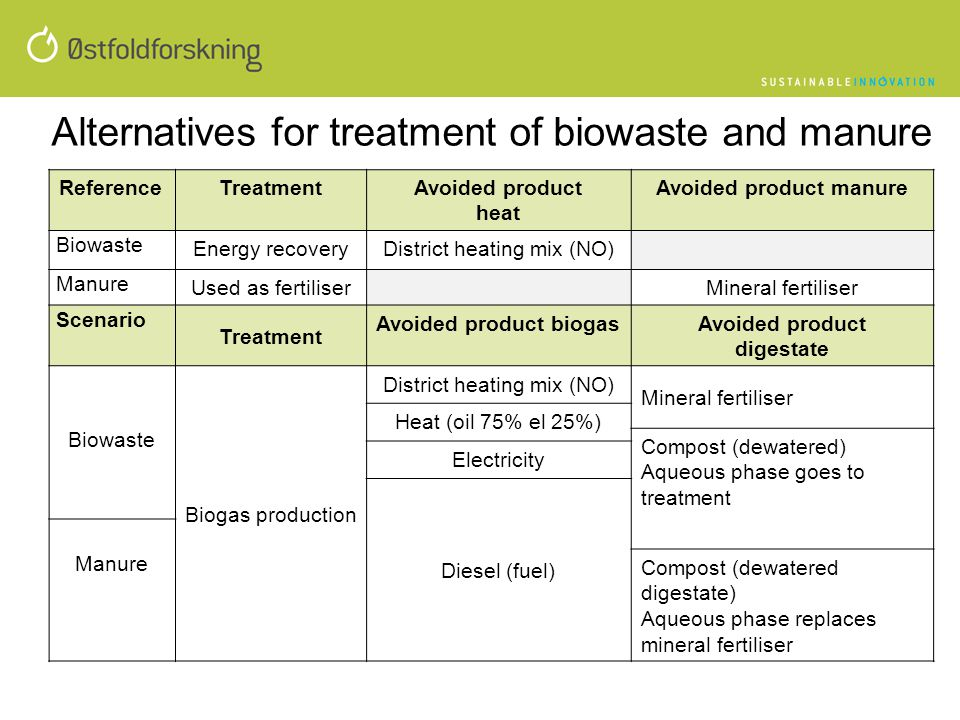 Alternatives for treatment of biowaste and manure