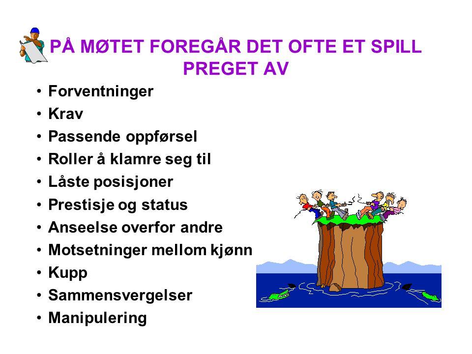 PÅ MØTET FOREGÅR DET OFTE ET SPILL PREGET AV