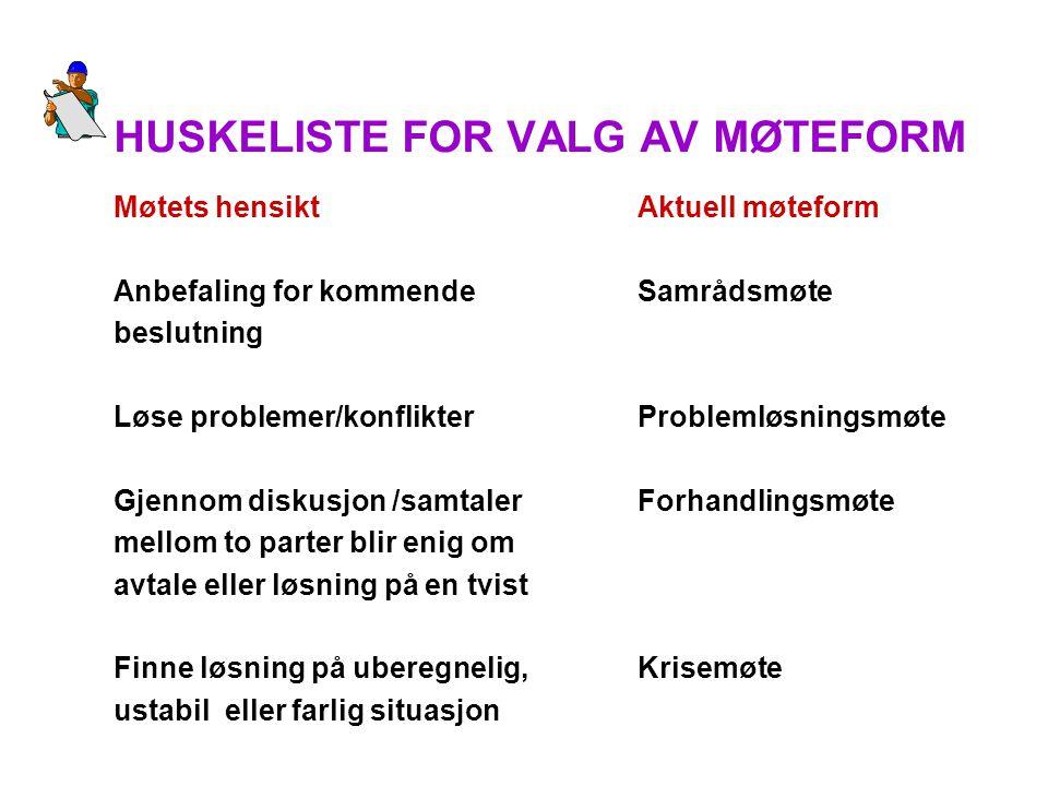 HUSKELISTE FOR VALG AV MØTEFORM