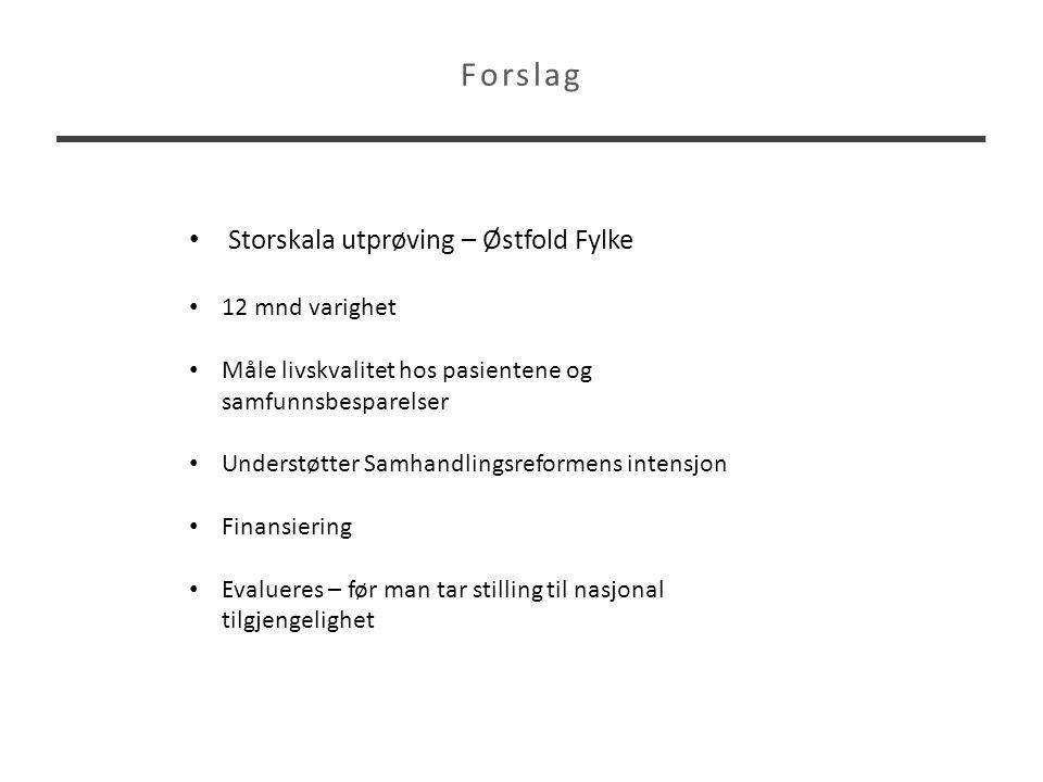 Forslag Storskala utprøving – Østfold Fylke 12 mnd varighet