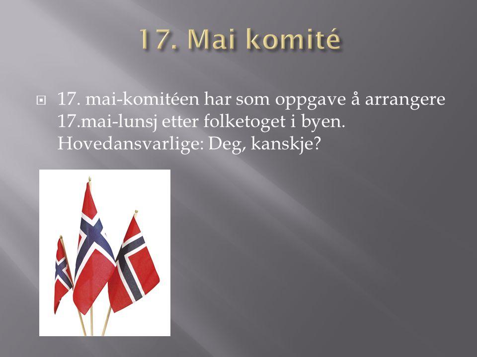 17. Mai komité 17. mai-komitéen har som oppgave å arrangere 17.mai-lunsj etter folketoget i byen.