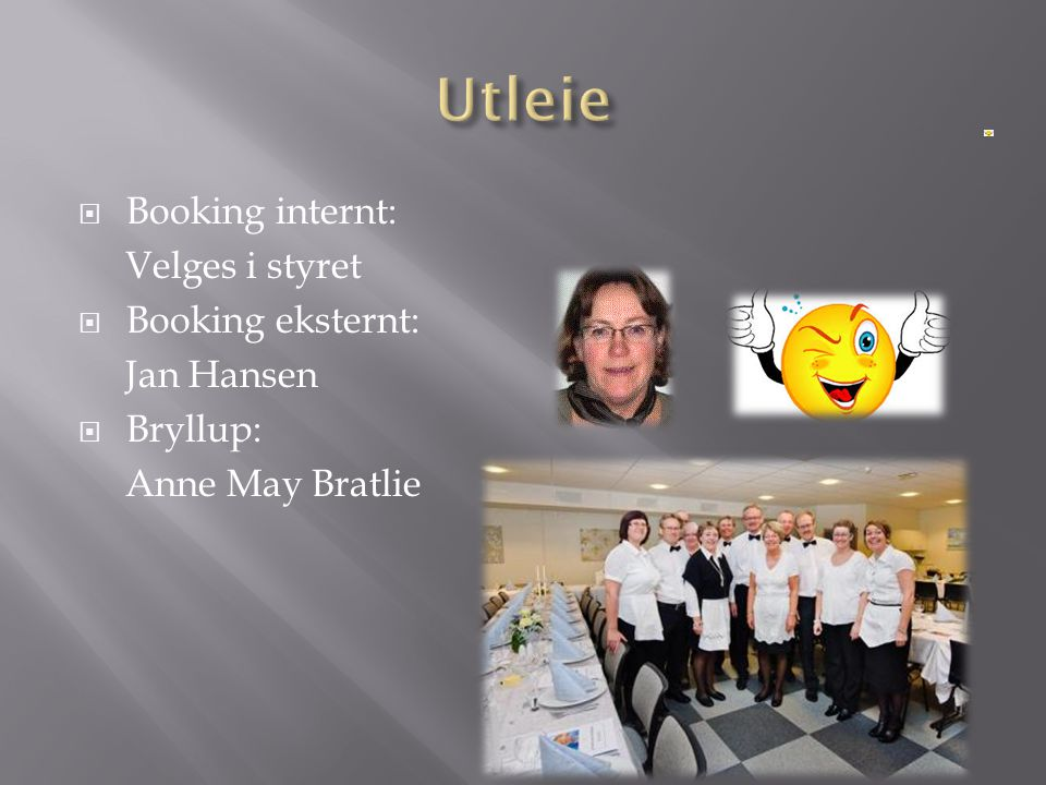 Utleie Booking internt: Velges i styret Booking eksternt: Jan Hansen