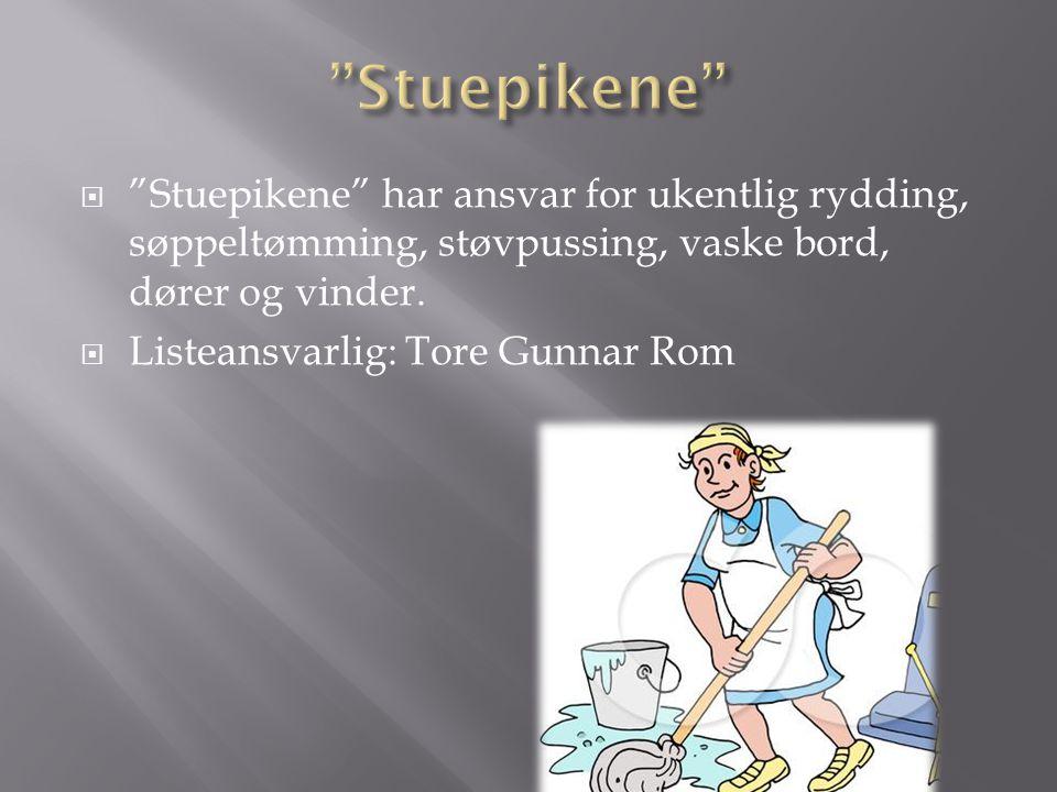Stuepikene Stuepikene har ansvar for ukentlig rydding, søppeltømming, støvpussing, vaske bord, dører og vinder.