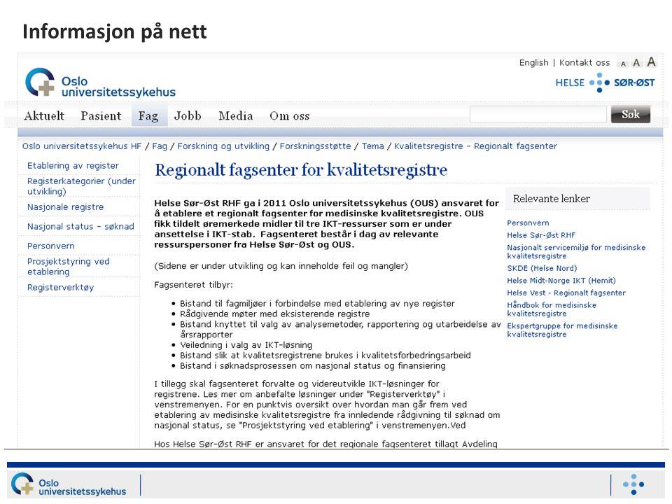 Informasjon på nett oslo-universitetssykehus.no/ >> Forskning
