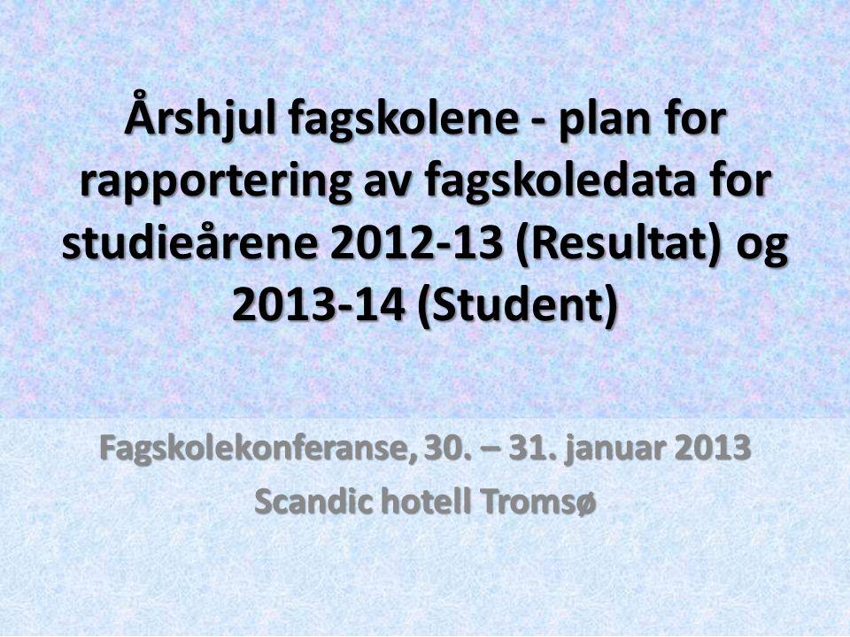 Fagskolekonferanse, 30. – 31. januar 2013 Scandic hotell Tromsø