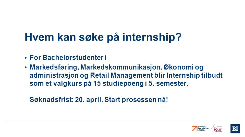 Hvem kan søke på internship