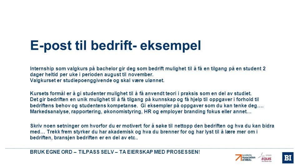 E-post til bedrift- eksempel