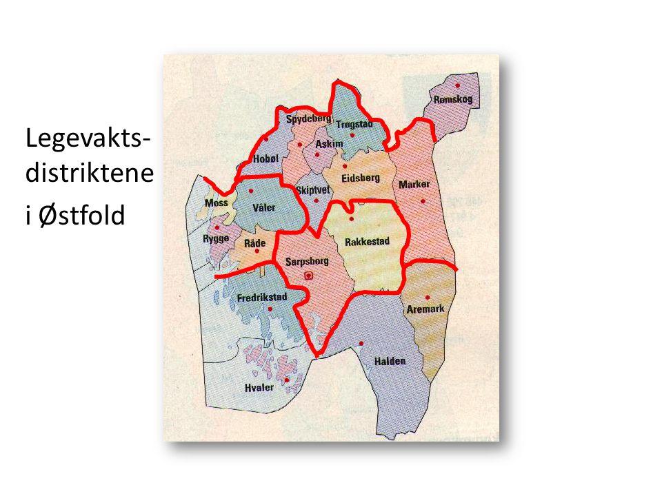 Legevakts-distriktene i Østfold