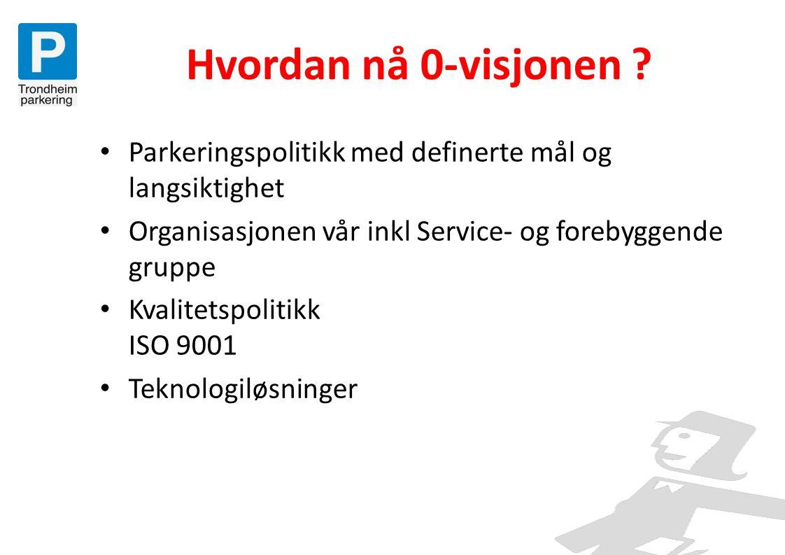 Hvordan nå 0-visjonen Parkeringspolitikk med definerte mål og langsiktighet. Organisasjonen vår inkl Service- og forebyggende gruppe.