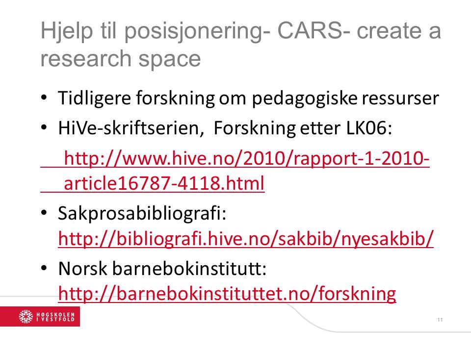 Hjelp til posisjonering- CARS- create a research space
