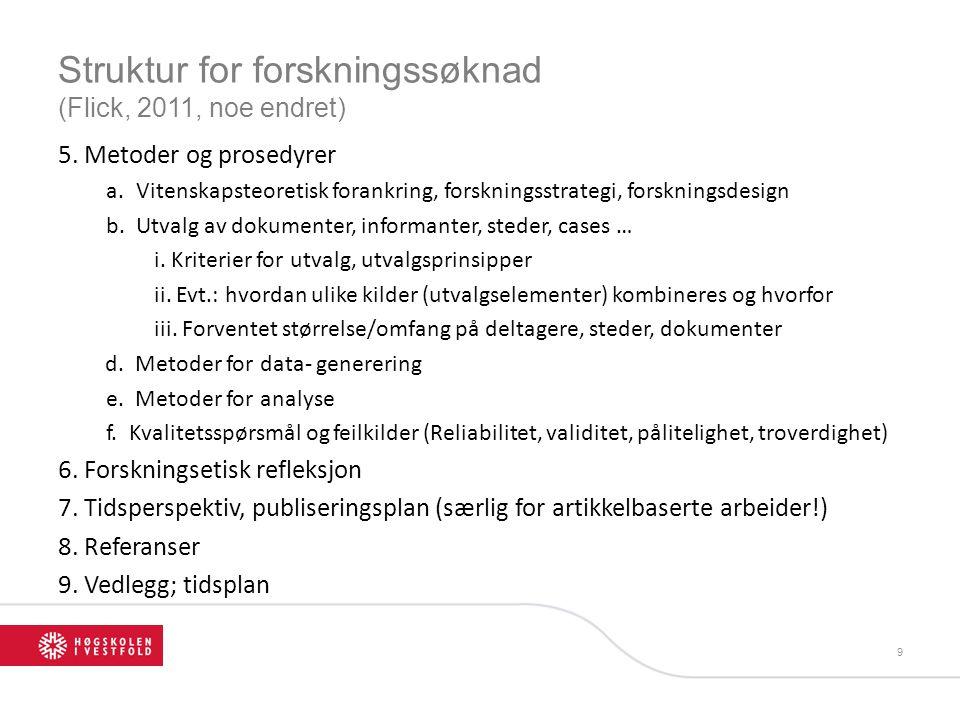 Struktur for forskningssøknad (Flick, 2011, noe endret)
