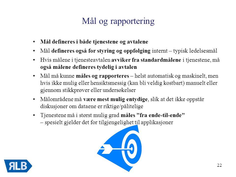 Mål og rapportering Mål defineres i både tjenestene og avtalene