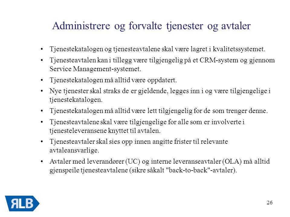 Administrere og forvalte tjenester og avtaler