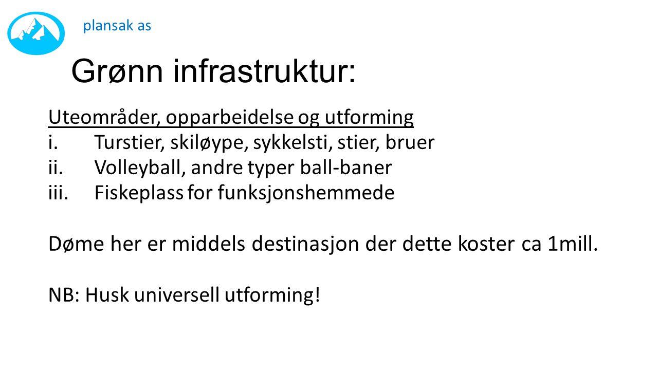 plansak as Grønn infrastruktur: Uteområder, opparbeidelse og utforming. Turstier, skiløype, sykkelsti, stier, bruer.
