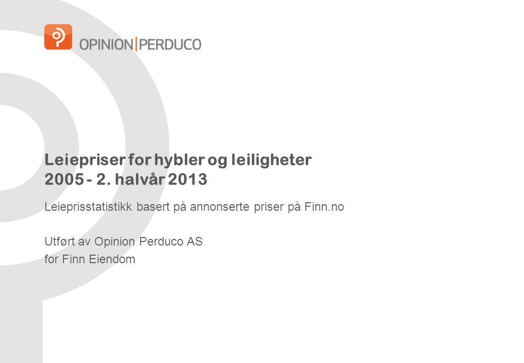 Leiepriser for hybler og leiligheter 2005 - 2. halvår 2013