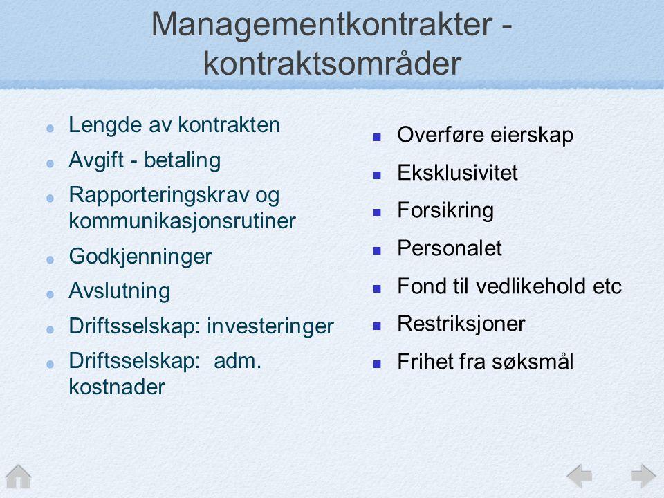 Managementkontrakter - kontraktsområder