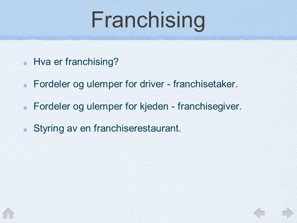 Franchising Hva er franchising