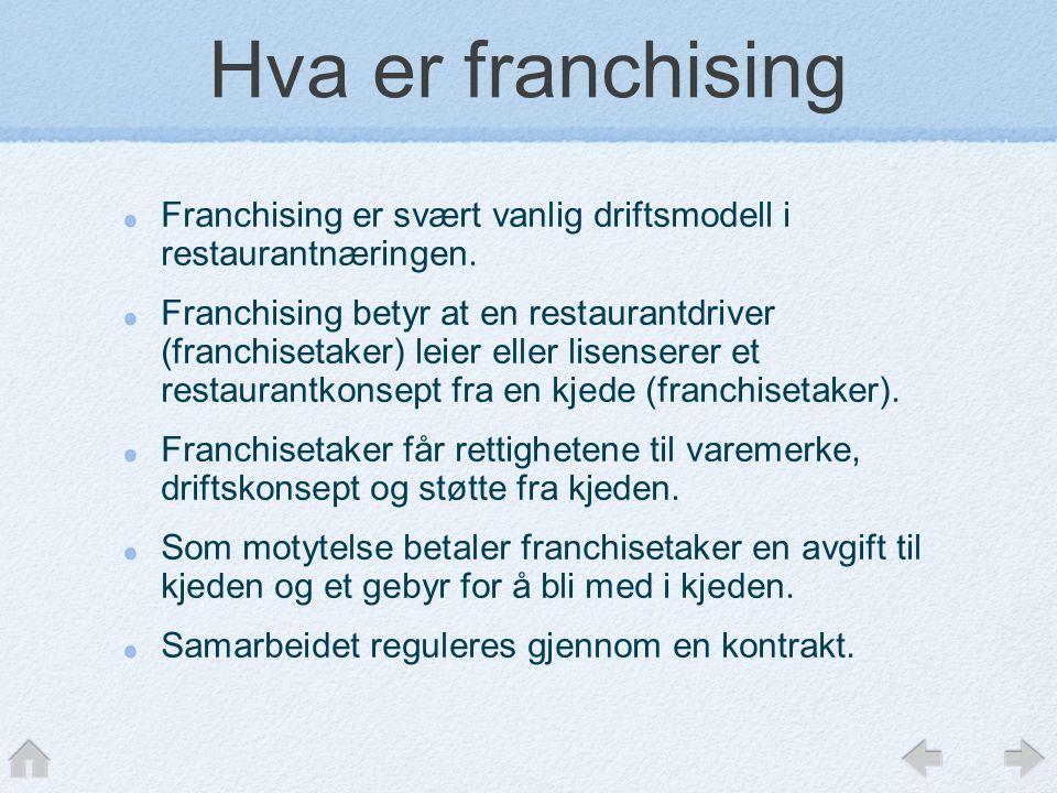 Hva er franchising Franchising er svært vanlig driftsmodell i restaurantnæringen.