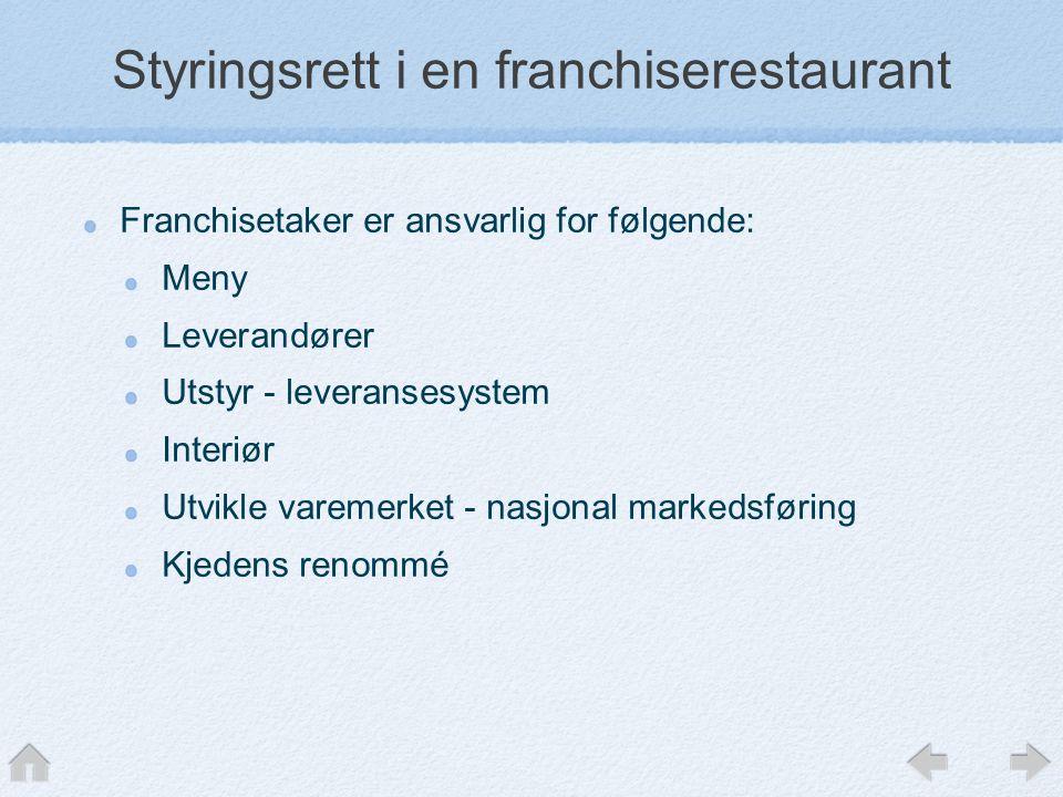 Styringsrett i en franchiserestaurant
