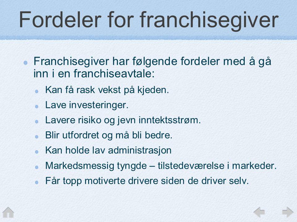 Fordeler for franchisegiver