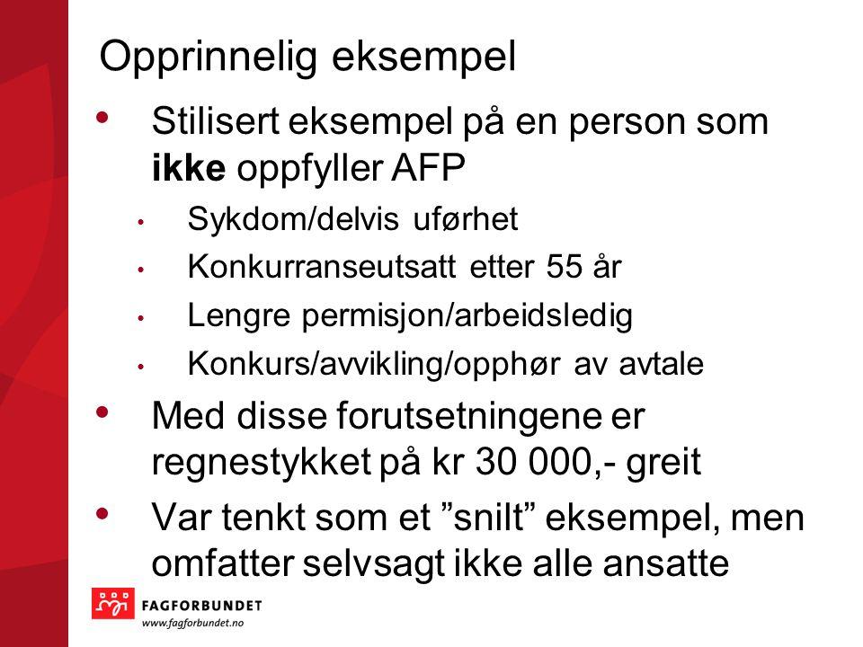 Opprinnelig eksempel Stilisert eksempel på en person som ikke oppfyller AFP. Sykdom/delvis uførhet.