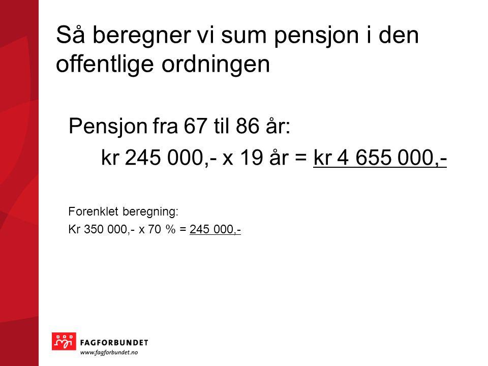Så beregner vi sum pensjon i den offentlige ordningen