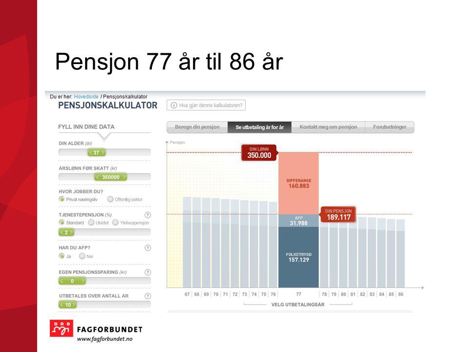 Pensjon 77 år til 86 år