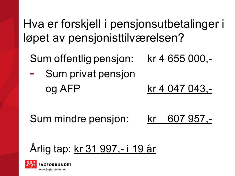 Hva er forskjell i pensjonsutbetalinger i løpet av pensjonisttilværelsen