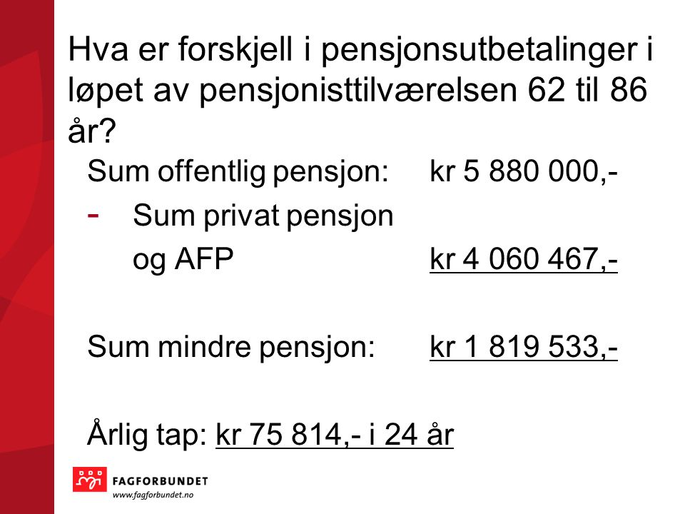 Hva er forskjell i pensjonsutbetalinger i løpet av pensjonisttilværelsen 62 til 86 år