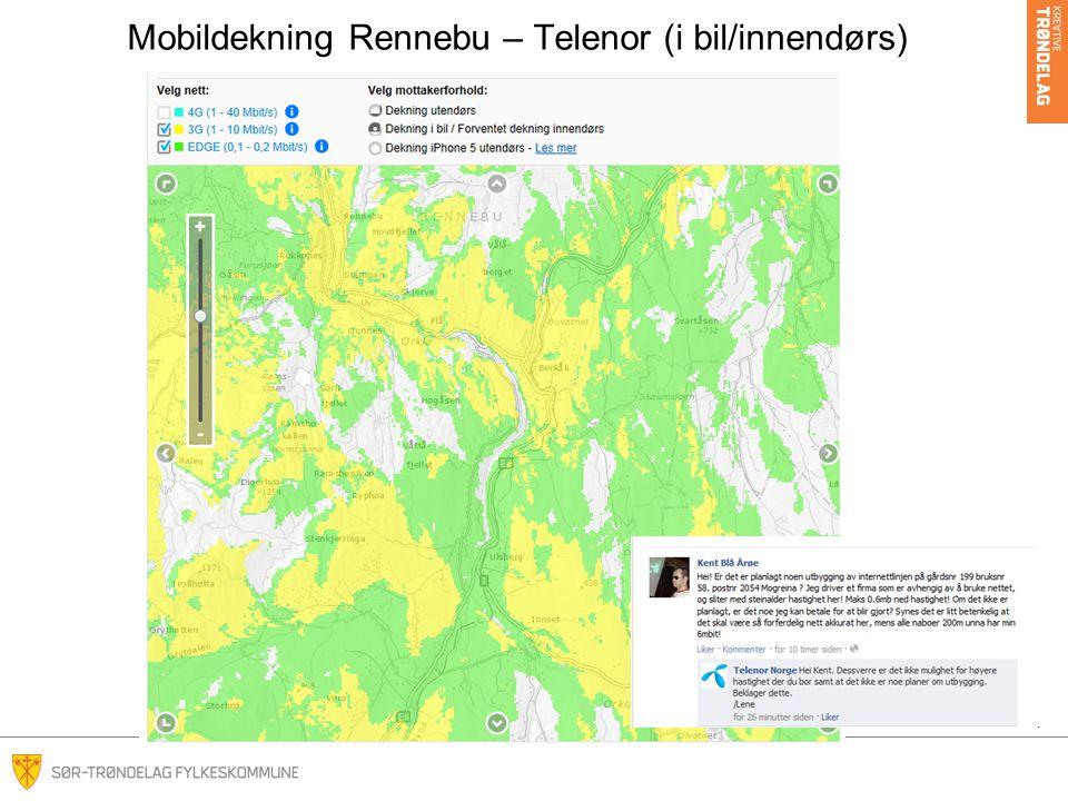 Mobildekning Rennebu – Telenor (i bil/innendørs)