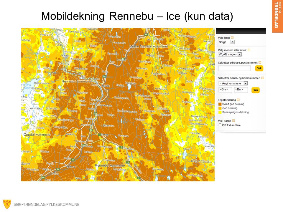 Mobildekning Rennebu – Ice (kun data)