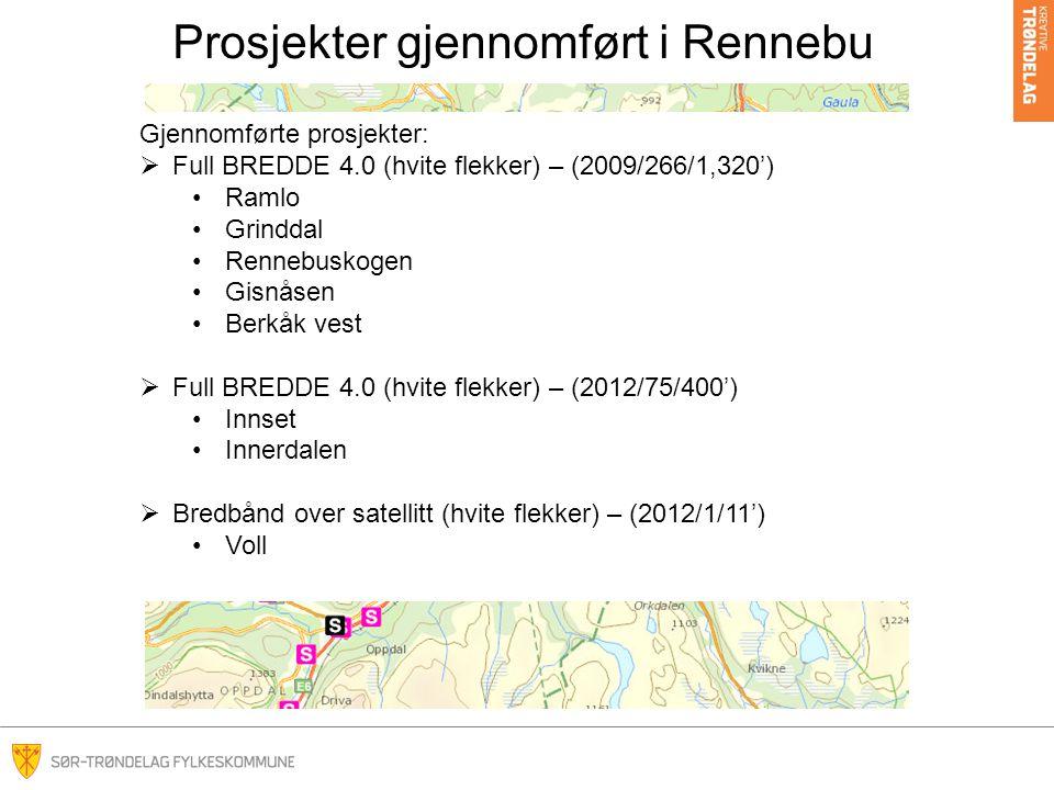 Prosjekter gjennomført i Rennebu
