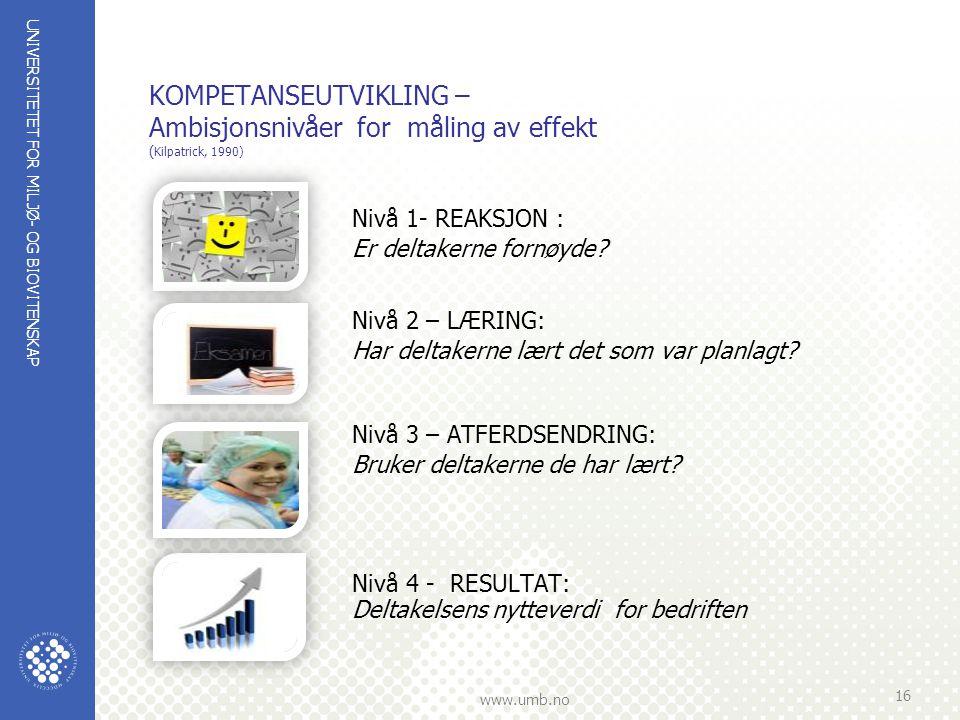 KOMPETANSEUTVIKLING – Ambisjonsnivåer for måling av effekt (Kilpatrick, 1990)
