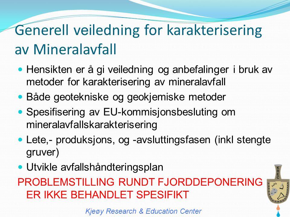 Generell veiledning for karakterisering av Mineralavfall